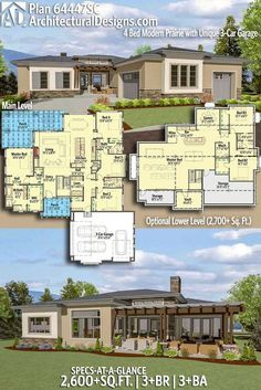 Architectural Designs Modern House Plan 64447SC gives you over 2,600 sq ft of heated living space with 3+ beds and 3+baths also comes with an optional lower level (2,700+ sq. ft.). Ready when you are! Where do YOU want to build? #69662AM #adhouseplans #architecturaldesigns #houseplan #architecture #newhome #newconstruction #newhouse #homedesign #dreamhome #homeplan #architecture #architect #housegoals #house #home #design #modern #northwest