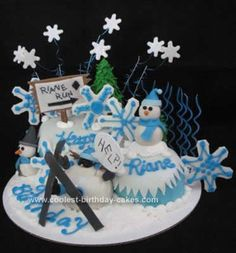 Homemade Snow Skiing Cake Ever: I made this Homemade Snow Skiing Cake Ever for my granddaughters 9th birthday. She is so excited to go skiing this year. She loved the cake except she