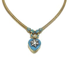 GOLD, ENAMEL AND DIAMOND NECKLACE, MID 19TH CENTURY Suspending a heart-shaped pendant opening to reveal a miniature portrait on ivory of a child, the case and bail decorated with turquoise enamel, set at the centre with a star motif highlighted with cushion-shaped and rose diamonds, the reverse chased with floral motifs, to a necklace of Brazilian linking, length approximately 410mm.