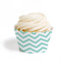 Tiffany Blue Chevron Cupcake