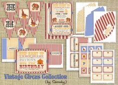 The Vintage Circus invites and other printables from Sassaby