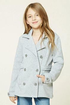 Forever 21 Girls - A knit coat featuring a double-breasted button-front, notched lapels, partially belted waist, two front slit pockets, fleece lining, and long buttoned sleeves.