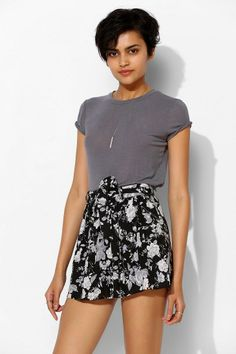 Band Of Gypsies Full Floral Skirted Short #urbanoutfitters