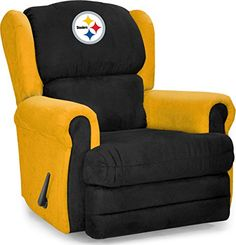 NFL Pittsburgh Steelers Two Toned Microfiber Recliner, Silver Recliner With Ottoman, Glider And Ottoman, Recliner Cover, Swivel Recliner, Pittsburgh Steelers, Go Steelers, Steelers Stuff, Pittsburgh Penguins, Nfl Coaches