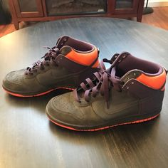 new styles 9a244 d4133 Shop Men s Nike Purple Orange size 12 Sneakers at a discounted price at  Poshmark. Description  Nike Dunk High Top Purple Orange Suede Size 12 Used  in good ...