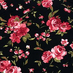 Deep Red Olive Floral on Black Cotton Spandex Knit Fabric - A black background with a deep red and olive floral design on a cotton jersey with spandex knit. Fabric is light to medium weight with a smooth hand and 4 way stretch. Vintage Flowers Wallpaper, Love Wallpaper, Fabric Wallpaper, Flower Nail Art, Flower Wall, Michael Miller, Aime Comme Marie, Red Olive, Flower Quilts