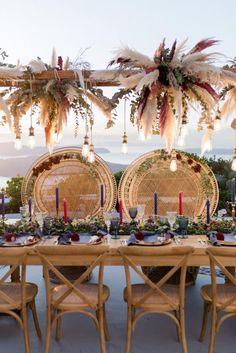 Wedding Dinner, Wedding Ceremony, Santorini Photographer, Modern Bohemian, Boho, Portfolio Images, Greece Wedding, Pampas Grass, Wedding Chairs