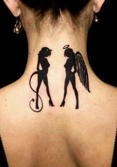 Angel and Devil Gemini tattoo Angel and Devil Gemini tattoo - Best Zodiac Tattoos Design Ideas for your tattoo inspiration. Neck Tattoo For Boys, Back Of Neck Tattoo, Tattoo Girls, Tattoo Neck, Gemini Tattoo Designs, Angel Tattoo Designs, Tattoo Designs For Girls, Gemini Tattoos, Zodiac Tattoos