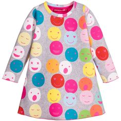 Neoprene dress byAgatha Ruiz de la Prada, with a colourful smiley face print over a grey, knitted-effect background. The dress pulls on over the head and has a simple, round neckline, is slightly flared and has exposed stitching on the cuffs and hemline. Would look fabulous with a pink hat and pink boots.
