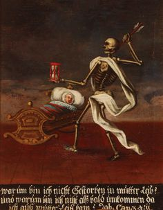 Century Memento Mori Oil Painting, German School, Oil on Canvas. The lower margin inscribed in German with text based on Job Memento Mori, Vanitas, Crane, Medieval, Dance Of Death, Post Mortem Photography, Danse Macabre, Grim Reaper, Skull And Bones
