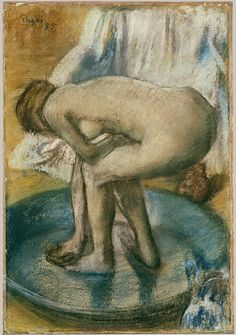 Edgar Degas, Woman Bathing in a Shallow Tub, charcoal and pastel on light green wove paper, 1885. Metropolitan Museum of Art.
