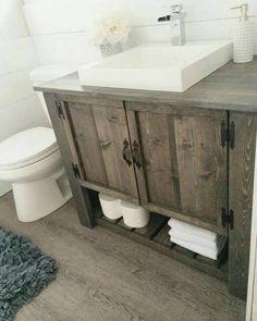 Love the DIY rustic bathroom vanity cabinet (Diy Bathroom Remodel) Rustic Bathroom Designs, Rustic Bathroom Vanities, Rustic Bathroom Decor, Bathroom Vanity Cabinets, Bathroom Renos, Master Bathroom, Vanity Sink, Bathroom Storage, White Bathroom