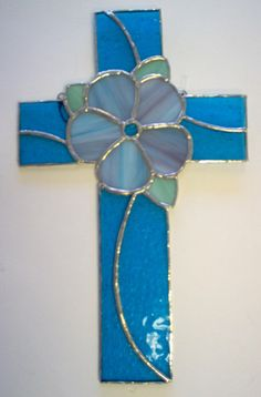 Glass crosses | stained glass flower cross ready to ship this is a stained glass cross ... #StainedGlassCross