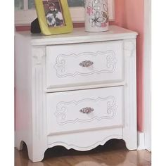 Signature Design By Ashley - Exquisite Nightstand White Nightstand, Dresser As Nightstand, Kids Furniture Warehouse, Fairytale Bedroom, Toddler Furniture, Under Bed Storage, Little Girl Rooms, At Home Store, Signature Design