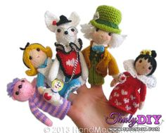 Alice in Wonderland Fingers Puppets by HandMadeAwards-Free Craft Patterns