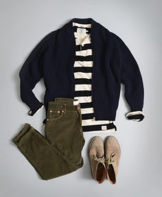 Navy Cardigan, Striped Tee, Olive Green Jeans, and taupe Desert Boots, Men's Spring Summer Fashion. Mode Outfits, Fashion Outfits, Edgy Outfits, Fashionable Outfits, Stylish Men, Men Casual, Olive Green Jeans, Style Parisienne, Look Man