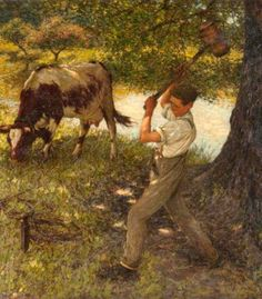 Stumping The Cow-Henry Herbert La Thangue (1859 – 1929, English)
