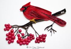 Quilled Northern Cardinal With Shiny Berries
