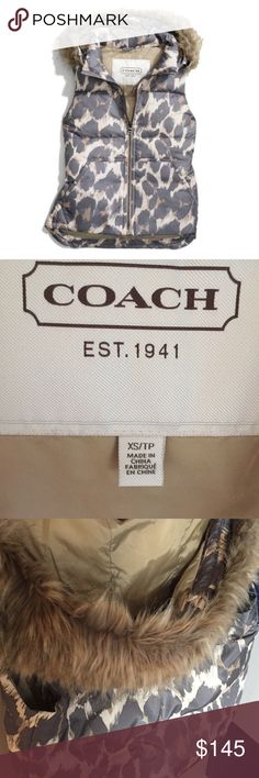 COACH Leopard Vest Do you LOVE everything Coach?! Well, this NWOT vest is for YOU. Beautiful. Slimming. Never worn. Fur on hood is removable. Size XS. Beautiful quality and great price!!! Coach Jackets & Coats Puffers