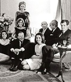 May 1965, The Kennedy family at Lee Radziwill's residence in London after the inauguration of a memorial dedicated to JFK.