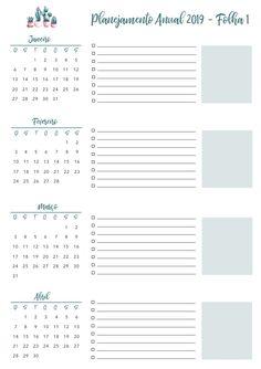 Planner 2019 Calendário Cactos Pdf Feriados Nacionais datas comemorativas download organização planejamento anual em 3 folhas Blog Planner, Agenda Planner, Planner Pages, Happy Planner, Printable Planner, Planner Stickers, Note Memo, Bullet Journal School, Journal Template