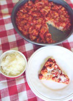 Deep Dish Spaghetti Pizza Pie. Yields 8 slices. 72 calories, 2g fat, 5g carbs, 1g fiber, 1g sugar, & 9g protein per slice