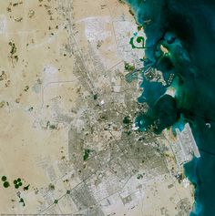 SPOT 6 satellite views the Persian Gulf also known as Arabian Gulf at Doha, Qatar. It is a Mediterranean sea in western Asia lies between Iran and the Arabian Peninsula, having a maximum depth of 90m. The Persian Gulf and its coastal areas are the world's largest single source of crude oil. Image © Airbus Defence and Space 2017. SATPALDA Geospatial Services is a privately owned company and authorised reseller of satellite imagery of Airbus Defence and Space 2017. http://www.satpalda.com