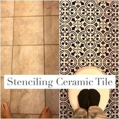 Paint ceramic tile with stencil and chalk paint. How to update bathroom floor on a budget. Black and white farmhouse style tile floors.