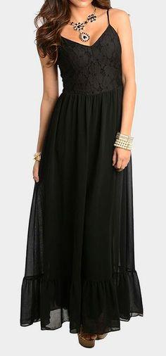 Black Floral Bodice Maxi Dress