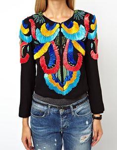 Image 3 ofASOS PETITE Exclusive Jacket With Ribbon Embellishment