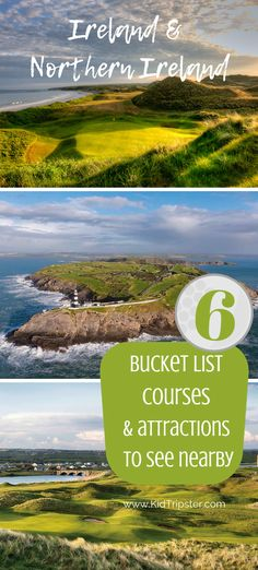 list Irish golf courses + nearby attractions 6 Bucket list Irish golf courses + nearby attractions for families. 6 Bucket list Irish golf courses + nearby attractions for families. Ireland Vacation, Ireland Travel, Attraction, Ireland With Kids, Bucket List Destinations, Travel Destinations, Northern Ireland, World Heritage Sites, Where To Go