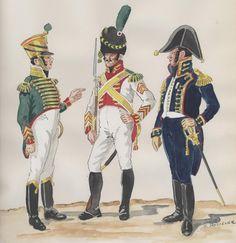 Músico de Voltigeurs de la Garde 1813-1814. Sargento de 2° de Velites de la Garde 1813-1814. Capitán de Marines de la Garde 1813-1815.