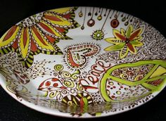 Items similar to Whimsy Peace Hand Painted Serving Bowl, In Red, Brown, Yellow, & Green on Etsy Painting Studio, Dot Painting, Pottery Painting, Ceramic Painting, Color Me Mine, Paint Your Own Pottery, Ceramic Pottery, Ceramic Plates, Into The Fire