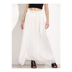 SheIn(sheinside) White Pleated Wrap Skirt ($15) ❤ liked on Polyvore featuring skirts, white, beach skirt, beach wrap skirt, pleated skirt, white beach skirt and long pleated maxi skirt