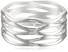 Robert Lee Morris Soho Silver Sculptural Cut Out Hinged Bangle Bracelet by Robert Lee Morris Soho -- Awesome products selected by Anna Churchill