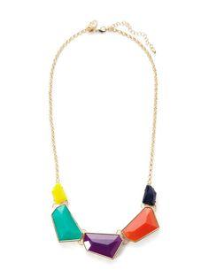 Multicolor Geometric Shape Station Necklace