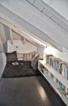 Another example of a good under the ceiling kind of nook.  Would need more padding though!