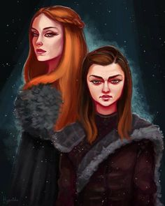 "- Game of Thrones (@art.of.ice.and.fire) on Instagram: ""The Stark Girls - by @hyanideart ° ° ° Game of thrones Sansa and Arya"