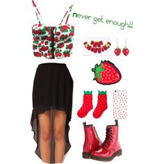 Strawberry Love by lmtomsick on Polyvore featuring polyvore, fashion, style and Dr. Martens