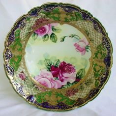 GORGEOUS COBALT BLUE HEAVY GOLD BEADED HAND PAINTED ROSES CENTER BOWL NIPPON