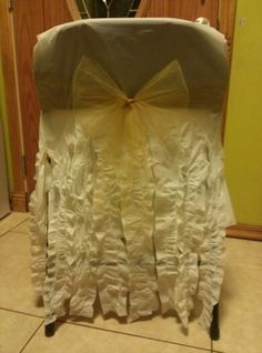 Chair Covers Dollar Tree Tablecloths Cut In Half Tied