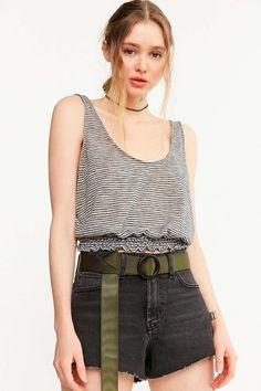 Project Social T Smocked Hem Striped Tank Top - Urban Outfitters