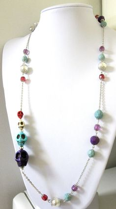 Day Of The Dead Necklace Sugar Skull Jewelry by sweetie2sweetie, $27.99