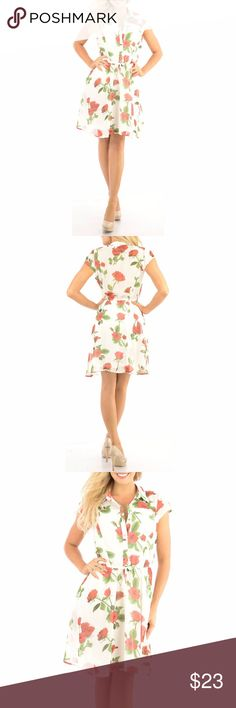 Cute Floral Dress with adorable pattern casual Sheer fabric with lining so it is not see through at front and skirt -upper back is sheer and without lining. Model is wearing a small & the exact same style. Close up shows fabric quality-Color dif is lighting. Brand new with tag!  Small=size 2,3,4  Medium= size 5,6,7  Large= size 8,9,10  Fit similar to styles @ Hello Molly, ASOS, Showpo ,Hot Miami Styles, Sabo Skirt , NBD, Lulus ,Tobi, Touch Dolls, Fashion Nova, Forever 21, Nasty Gal c508…