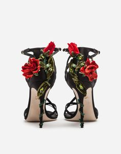 Dolce&Gabbana shoes are made with the utmost attention to detail.Satin Keira sandals with hand-embroidered climbing roses and bejeweled appliqués: Floral Heels, Shoe Image, Flower Shoes, Cute Shoes, Fancy Shoes, Awesome Shoes, Me Too Shoes, Shoe Art, Crazy Shoes