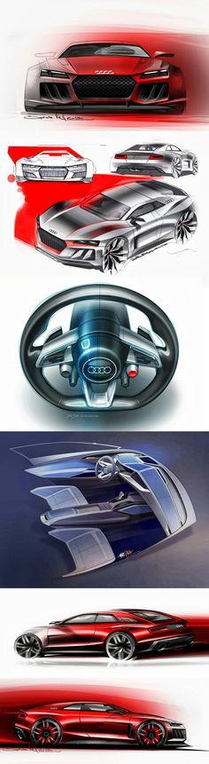 Audi Quattro Sport Concept - Great supercar design sketches & 3D