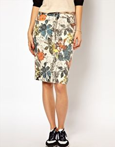 WoodWood Gladys Denim Pencil Skirt in 90s Floral