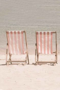 Beach Photography - Yours and Mine. 2 beach chairs - pink and white candy stripe - print - Fine Art Photograph Deck Chairs, Outdoor Chairs, Outdoor Furniture, Outdoor Decor, Bag Chairs, Dining Chairs, Beach Photography, Vintage Photography, Travel Photography