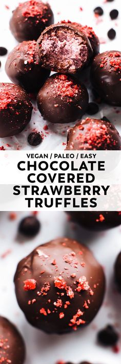 Like a chocolate covered strawberry but BETTER. Light, airy strawberry truffle filling coated in dark chocolate for a tart and sweet decadent bite of a treat! #vegan #paleo #valentinesday #chocolate #veganrecipe #easyrecipe #healthy #glutenfree