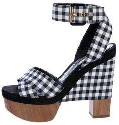 789e2c04d Louis Vuitton Gingham Platform Sandals Pre Owned Louis Vuitton